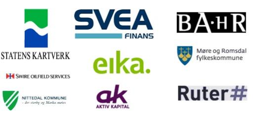 Referanser: Ruter, Svea Finans, Statens kartverk, BAHR, Aktiv kapital, Møre og Romsdal fylkeskommune