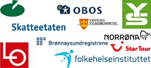 Referanser: YS, Norrøna, Skatteetaten, Star Tour, Brønnøysundregistrene, Obos, LO, Vestfold fykeskommune