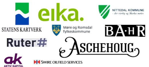Referanser: Ruter, Eika, Statens kartverk, BAHR, Aktiv kapital, Møre og Romsdal fylkeskommune, Aschehoug, Swire Oilfield Services