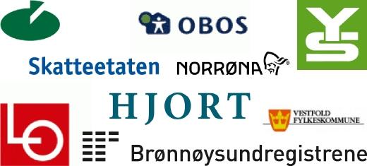 Referanser: YS, Norrøna, Skatteetaten, Hjort, Brønnøysundregistrene, Obos, LO, Vestfold fykeskommune
