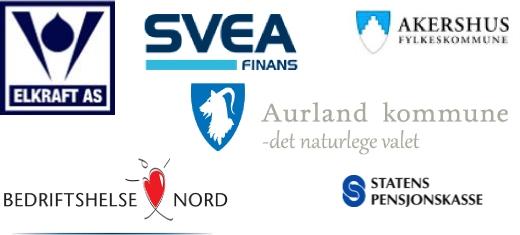 Referanser: Elkraft, Statens Pensjonskasse, Bedriftshelse Nord, SVEA FInans, Aurland kommune, Akershus fylkeskommune