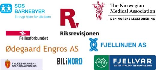 Referanser: Riksrevisjonen, Fellesforbundet, Fjellvar, Fjellinjen, SOS-barnebyer, Den norske legeforening, Bil i nord, Fylkesmannen i Vestfold, Ødegaard ENgros