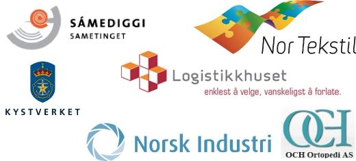 Referanser: Nor Tekstil, Sametinget, Samediggi, Kystverket, OCH Ortopedi AS, Norsk Industri
