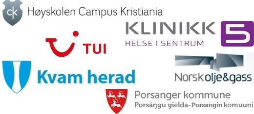 Referanser: Høyskolen Campus Kristiania, Klinikk5, TUI, Kvam Herad kommune, Norsk Olje og gass, Porsanger kommune