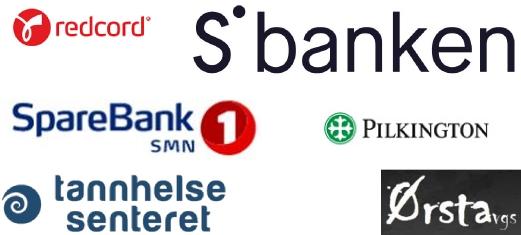 Referanser: SBanken, Sparebank1, Pilkington, Tannhelsesenteret, Ørsta vgs, Redcord